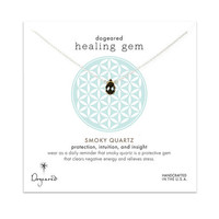 healing gem smokey quartz necklace, sterling silver, 16 inch
