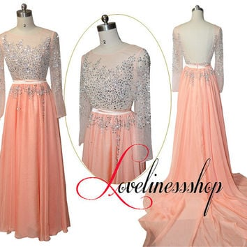 long sleeve Prom Dress Sexy backless beaded Gem prom gown dress Glitter with long train,sheer top evening dress with sash,coral party dress