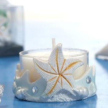 Art Candle Gel Wax Candles Wedding Party Home Decoration Ocean Romantic Candle Stand With Seastar Ocean Animal Nature Decor