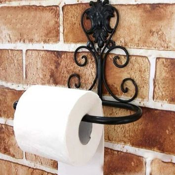 3 colors Vintage Iron Toilet Paper Tissue Holder Hanging Towel Roll Holder Bathroom Wall Mount Rack
