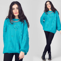 Vintage 1980s Turquoise Mohair Sweater / Oversized Slouchy Open Knit Jumper / Plain Minimalist Bright Large L Sweater
