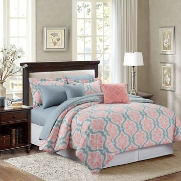 Marina Coral Medallion 8-piece Comforter Set | Overstock.com Shopping - The Best Deals on Comforter Sets
