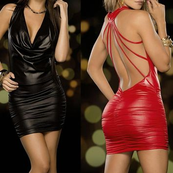 Women Sexy Black And Red Wet Look Backless Bandage Faux Leather Bodycon Dress