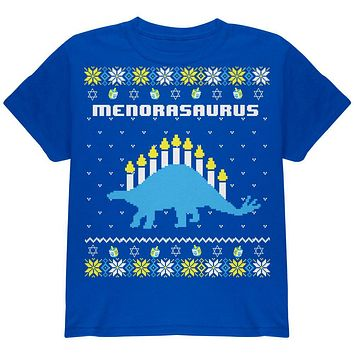 Hanukkah Ugly Sweater Menorasaurus Menorah Stegasaurus Youth T Shirt