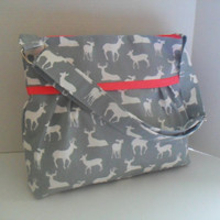 Diaper Bag - Gray Deer - Coral - Adjustable Strap - Deer Diaper Bag - Messenger Bag - Bags and Purses -  Stroller Straps - Monogramming