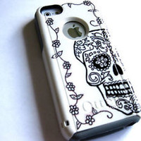 Custom glitter Otterbox Commuter iphone 5C Case sugar skull