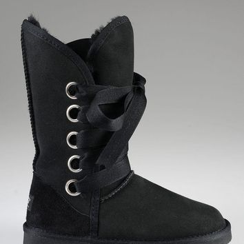 ESBON UGG 5818 Tall Lace-Up Women Fashion Casual Wool Winter Snow Boots Black