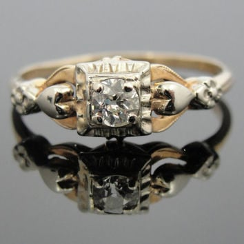 Sweetheart Engagement Ring with Old Mine Cut Diamond, Art Deco Era RGDI419D