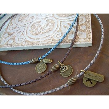 Leather Necklace, Mens Necklace, Thin Braided Leather Charm Necklace With Brass Magnetic Clasp, Womens Necklace, Om, Lotus, Cross