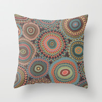Boho Patchwork-Vintage colors Throw Pillow by Groovity