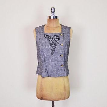 Vintage 80s Does 50s Grey Embroider Blouse Embroider Top Sleeveless Blouse Crop Blouse 50s Blouse 50s Mad Men Blouse Women XS Extra Small S