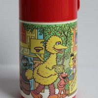 SESAME STREET THERMOS, Vintage Aladdin thermos, Big Bird, Cookie, Elmo, Ernie, Bert, Oscar Thermos, collectible Muppets, gift for child