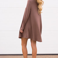 Cara Long Sleeve Shift Dress- Mocha