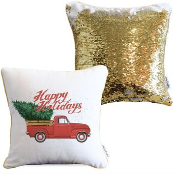 Vintage Christmas Truck Holiday Pillow with White & Gold Reversible Sequins | COVER ONLY (Inserts Sold Separately)