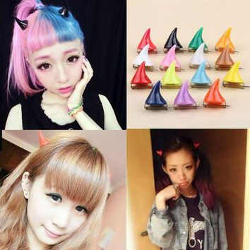 PEAPYV3 1Piece!!Cute Design 15 Colors Halloween Devil Horn Hairpin Girls Fashion Corner Hair Clip Hair Accessories Headwear-0086