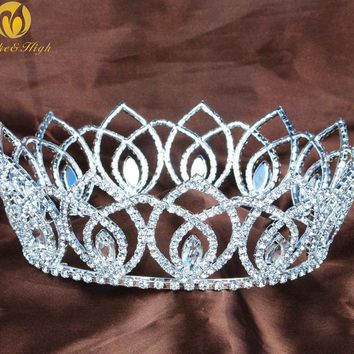Vintage Full Round Tiaras Clear Austrian Rhinestone Crowns Handmade Diamante Headpiece Beauty Pageant Bridal Wedding Party