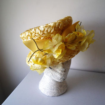 Vintage Derby Hat Mod Hat Tall Crown Bucket Hat Yellow Flowers Stix Baer & Fuller, SALE