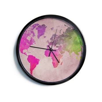 "Justyna Jaszke ""World Map 1"" Red Green Digital Modern Wall Clock"