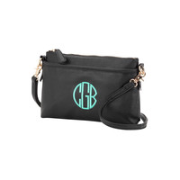 Black Bree Crossbody Purse with Initial, Monogram or Blank. Leather Like.
