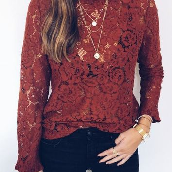 Red Patchwork Lace Ruffle High Neck Long Sleeve Blouse