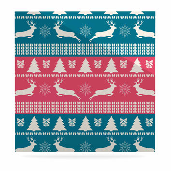 "Famenxt ""Christmas Blue Red"" Blue Red Illustration Luxe Square Panel"