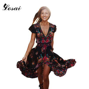 Summer Boho Dress Ethnic Sexy Print Retro Vintage Dress Tassel Beach Dress Bohemian Hippie Dress Robe Vestidos Mujer S-XL
