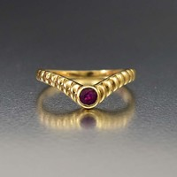 Perfect Gold and Ruby Chevron Wishbone Ring