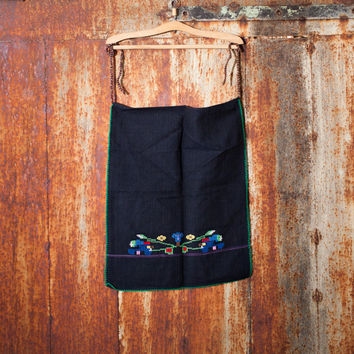 Natural organic wool apron natural organic cotton apron handwoven apron woman Bulgarian kitchen apron embroidered apron ethnic apron vintage