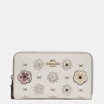 Medium Zip Around Wallet With Cut Out Tea Rose