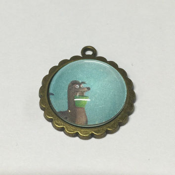 Gerald Sea Lion Cameo Brooch or Necklace. Vintage Storybook Pin. Disney Pixar Finding Dory
