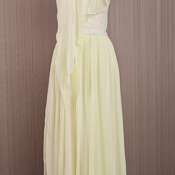 Long One Shoulder Dress / Cream Yellow Chiffon Prom Dress /Chiffon Bridal Shower Dress / Elegant Handmade Dress/ Formal Maxi Dress