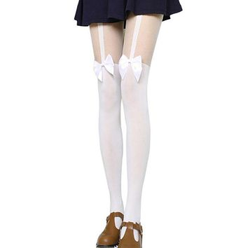 G20 Fashion Sexy Women Black White Stockings Thin Tights Bow Pantyhose Tattoo Mock Bow Suspender Sheer Stocking