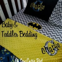 Personalized Superhero nursery bedding, Baby & Toddler custom Batman bedding - 3 piece set. Daycare, Preschool, Travel pillows Batman
