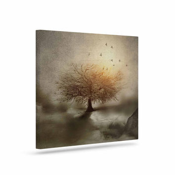 "Viviana Gonzalez ""Lone Tree Love IV"" Brown Nature Canvas Art"