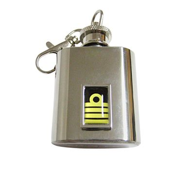 Bordered Nautical Captain Rank 1 Oz. Stainless Steel Key Chain Flask