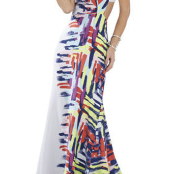 BCBG Zhanna Printed Open-Back Gown
