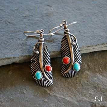 Navajo Turquoise Feather Earrings