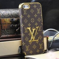 Designer inspired LV iphone 5/5S Leather hard back Case, Brown Monogram with gold logo and frame, luxury style and touch feeling,BUY one get one matched Free 3.5mm diamond Anti dust Ear Cap Plug,Shipping from Alberta,Canada:Amazon:Electronics