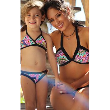Baby Girls Color Blocked Bottom & Halter Swimsuit Set