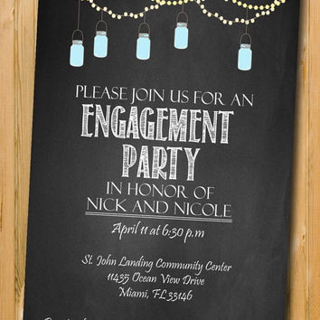 Printable engagement invitation, DIY Engagement Party invitation, custom chalkboard invite,  Mason Jar Invitations