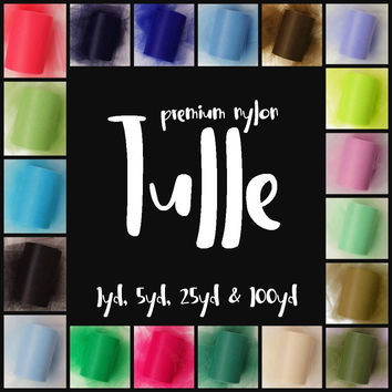 Premium Nylon Tulle | 25 yard rolls | 100 yard rolls | tutu skirts | tutu dresses | wedding decorations | pew bows | tulle fabric