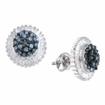 10kt White Gold Women's Round Blue Color Enhanced Diamond Cluster Earrings 1.00 Cttw - FREE Shipping (US/CAN)