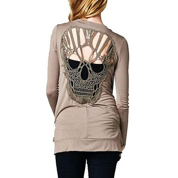Women Skulls Cardigan Slim Basic Coat Casual Hollow Out Long Sleeve Women's jackets for Spring Solid Color thin bomber jacket