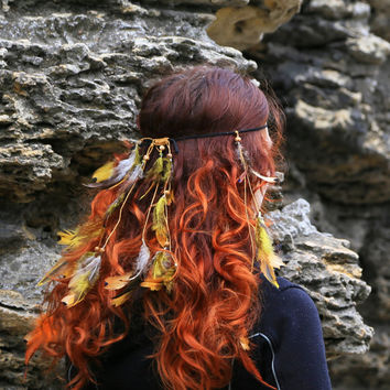 Boho Feather Hair Jewelry Orange indian outfit Headband Leather Hair clip Feather headpiece costume Earthy Tribal Headpiece rave bra for her