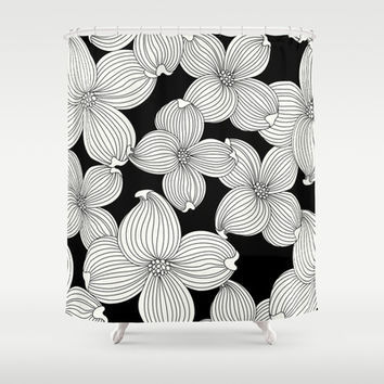 Dogwood Floral Linear: Ivory on Black  Shower Curtain by Eileen Paulino