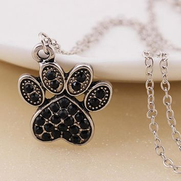 Black Crystal Rhinestone Dogs Paws Claw Print  Pendant Necklace  Jewelry Tiny Delicate Choker Lovely Women Jewelry Lover Gift