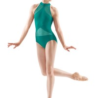 Bloch Irina and Max Vivid Green Sheer Panel Leotard / Bloch