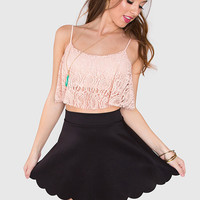 Only Us Lace Crop Top - Peach