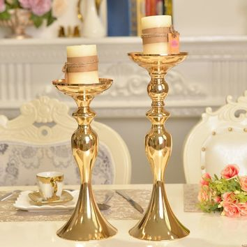 3 Sizes Gold Metal Candle Holder Candle Stick Silver Wedding centerpiece Event Road Lead Flower Stands Rack Vase