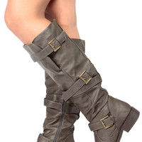 Dark Brown Faux Leather Knee High Strappy Biker Boots